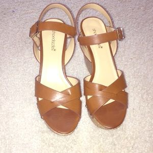 Brown Cork Wedge Shoes